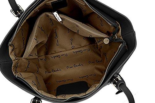 Borsa Da Donna Tracolla Pierre Cardin Nera In Pelle Made In Italy Vn1080