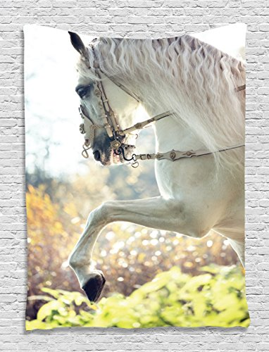 Ambesonne Country Farmhouse Animals Paintings Decor Collection, Large White Horse with Mane Rears up, Bedroom Living Kids Girls Boys Room Dorm Accessories Wall Hanging Tapestry