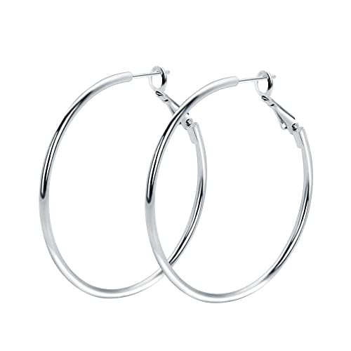 0de187ce3 Amazon.com: Rugewelry 925 Sterling Silver Hoop Earrings, 18K White Gold  Plated Polished Rounded Hoop Earrings For Women Girls, Gift Box Packaging:  Jewelry