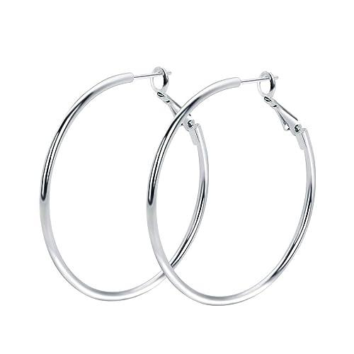 Amazon.com  Rugewelry 925 Sterling Silver Hoop Earrings 02debaee8