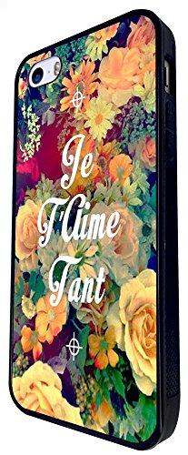 630 - Floral Shabby Chic Roses Je T'Aime Tant I Love You Design iphone SE - 2016 Coque Fashion Trend Case Coque Protection Cover plastique et métal - Noir