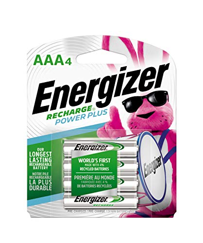 Energizer Rechargeable AAA Batteries, NiMH, 800 mAh, Pre-Charged, 4 count (Recharge Power Plus) - Packaging May Vary