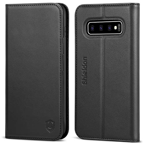 SHIELDON Galaxy S10 Case, Genuine Leather Galaxy S10 Wallet Flip Case Folio Cover Stand Feature with Credit Card Slots Magnetic Closure Compatible with Galaxy S10 (6.1 inch) (2019) - Black