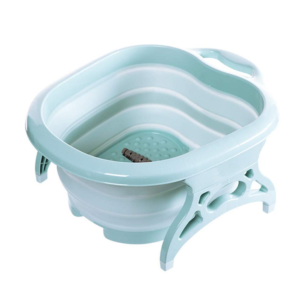 ANGELA Foot Spa Massager Portable Travel Folding Massage Bucket Bubbling Wheel Bath-Tub Soaking Basin Wash Feet for Relaxation Relieve Fatigue,Blue