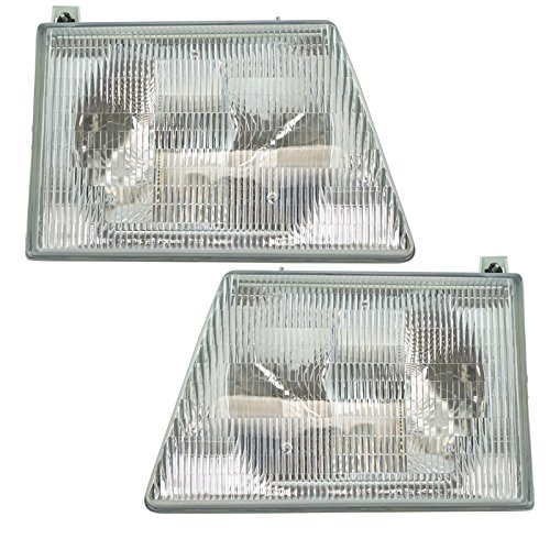 Headlights Headlamps Left & Right Pair Set for 92-96 Ford Econoline - 96 Van Econoline Ford