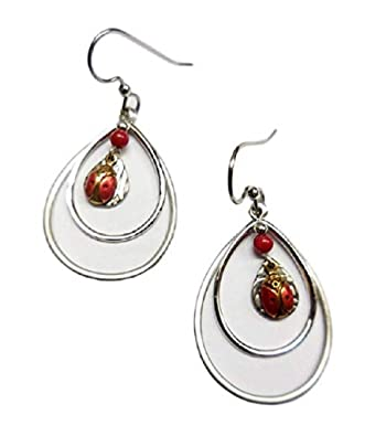 2fc1c8be1 Image Unavailable. Image not available for. Color: Silver Forest Open  Teardrops with Ladybug Dangle Earrings