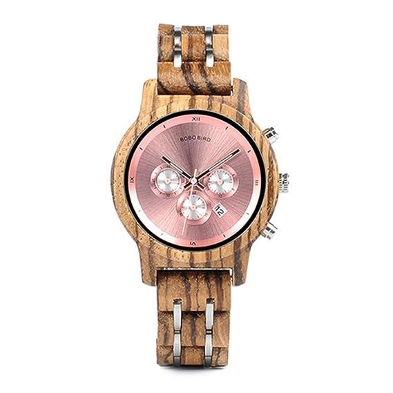 HWCOO Hermosos Relojes De Madera BOBOBIRD Reloj de Cuarzo Todo en Madera Reloj de Tres Ojos Reloj de Madera a Prueba de Agua multifunción (Color : 2): ...