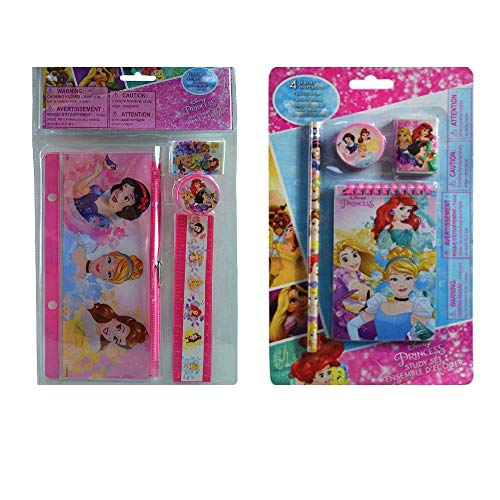 (Disney Princess Stationary With Pencil Case, Memo Notepad, Erasers, Sharpeners, Pencil &)