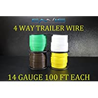 14 GAUGE TRAILER LIGHT WIRE 400 FT ENNIS ELECTRONICS 4 WAY TRAILER LIGHT 100 FT SPOOLS PRIMARY CABLE BROWN GREEN YELLOW WHITE