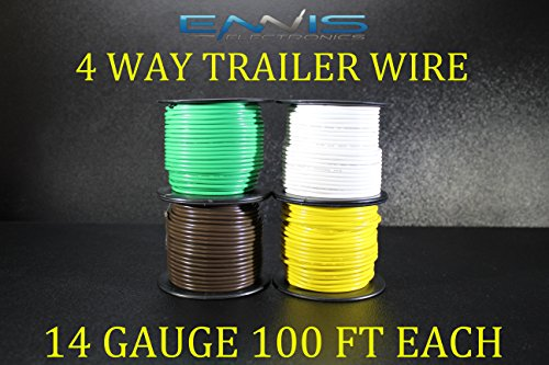 (14 GAUGE TRAILER LIGHT WIRE 400 FT ENNIS ELECTRONICS 4 WAY TRAILER LIGHT 100 FT SPOOLS PRIMARY CABLE BROWN GREEN YELLOW WHITE)