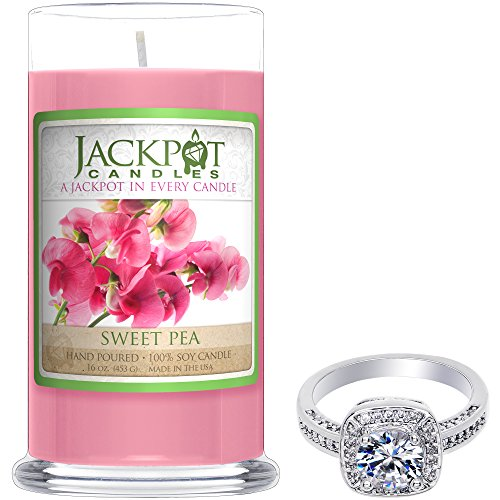 Sweet Pea Candle with Ring Inside (Surprise Jewelry Valued at $15 to $5,000) Ring Size 8 (Scents Sweet Candle)