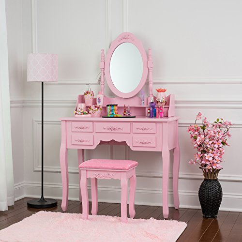 Fineboard FB-VT03-PKN Vanity Set with Stool Makeup Table with 7 Organization Drawers Single Oval Mirror, Pink