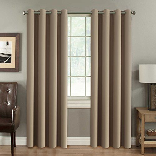 Window Treatments (H.Versailtex Window Treatment Blackout Thermal Insulated Room Darkening Solid Grommet Curtains / Drapes for Bedroom (Set of 2 Panels,52 by 84 Inch Long,Khaki))