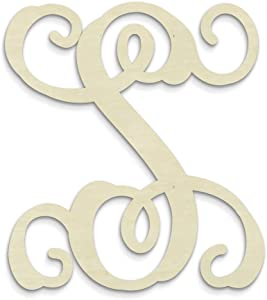 UNFINISHEDWOODCO Single Vine Unfinished Monogram S Decorative Letter, 13-Inch