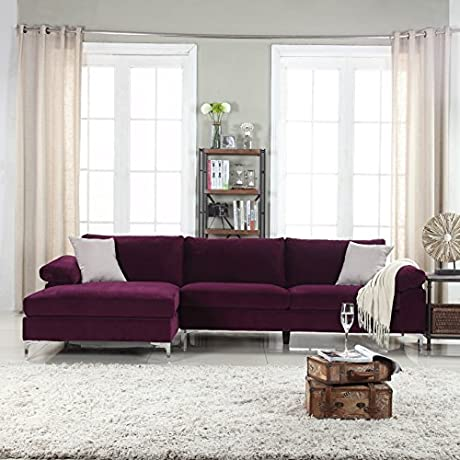 Modern Large Velvet Fabric Sectional Sofa L Shape Couch With Extra Wide Chaise Lounge Purple