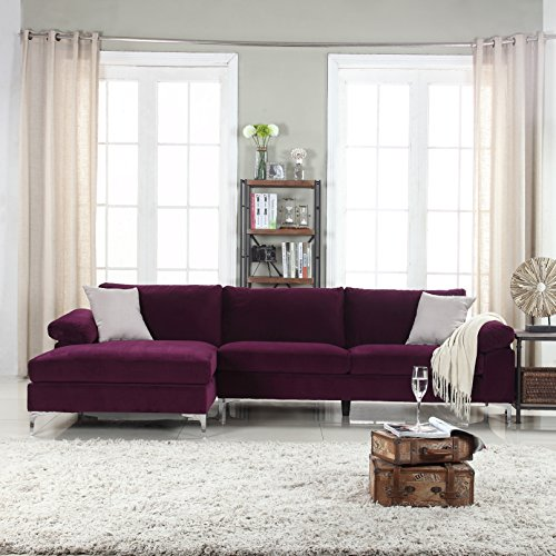 Modern Sectional Sofa Ultra (Divano Roma Furniture Modern Large Velvet Fabric Sectional Sofa, L-Shape Couch with Extra Wide Chaise Lounge (Purple))