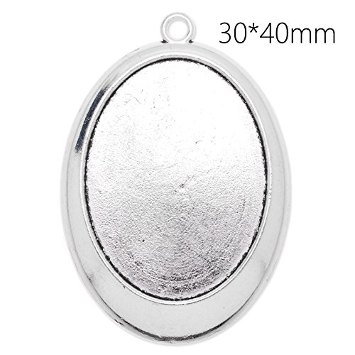 20pcs Newest Antique Silver Plated Cabochon Settings Pendant fit 30x40mm - Setting Silver Plated