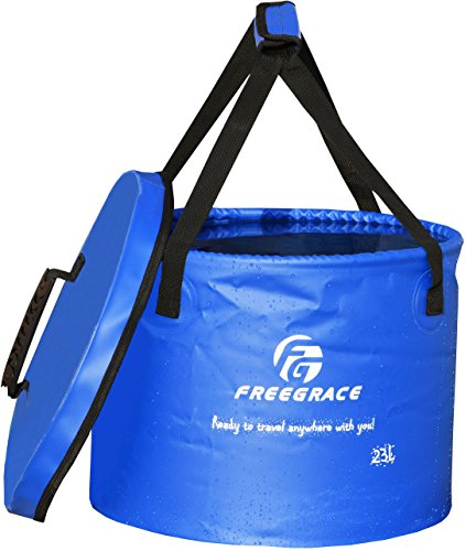 Freegrace Premium Collapsible Bucket -Multifunctional Folding Bucket -Perfect Gear for Camping, Hiking & Travel (Navy Blue, 23L Upgraded) -