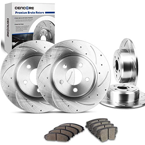 CENCORE Front & Rear Non-Coated Anti-Rust Brake Disc Plate Kit Cross Drilled & Slotted 4 Brake Rotors & 8 Ceramic Brake Pads Compatible with 2006-2014 Dodge Charger 2005-2013 Chrysler 300