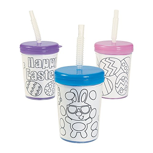 Fun Express Color Your Own Easter Cups (Set of 12) with Lids and Straws