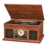 Victrola VTA-250B-MAH 4-in-1 Nostalgic Bluetooth Record Player with 3-Speed Turntable FM Radio and AUX-in Mahogany