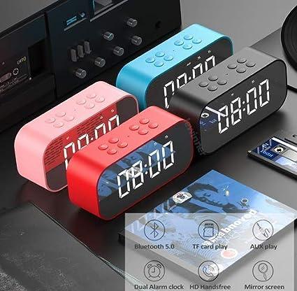 OurLeeme Altavoz Bluetooth Reloj Despertador, Tipo Espejo ...