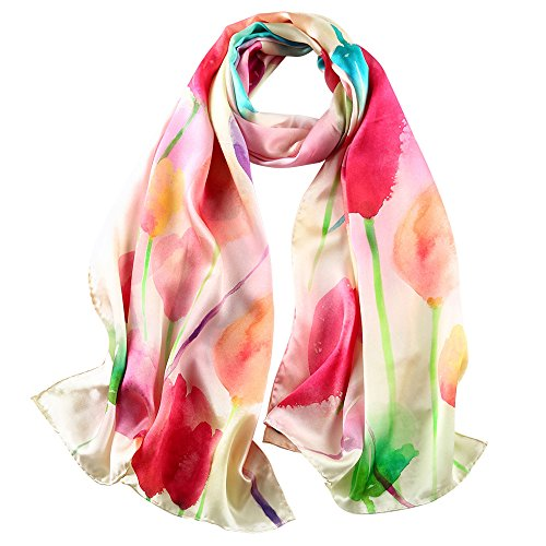 (STORY OF SHANGHAI Womens 100% Mulberry Silk Head Scarf For Hair Ladies Floral Satin Scarf Gift for Valentine's Day)