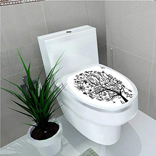 (Toilet Seat Wall Stickers Paper Collection Sketch Style Halloween Tree with Spooky Decor Objects and Wicked Witch on W13 x)