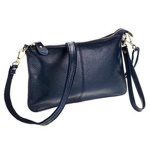 Clutch Women's Small Cowhide Shoulder Purse SEALINF Leather dark blue Bag Handbag tZqf4w4d