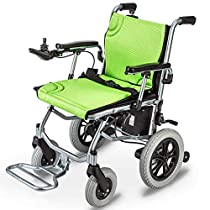 JSYCD Lightweight Wheelchair, Electric Wheelchair Open/Fold in 1 Second Lightest Most Compact Power Chair Drive with Electric Power Or Manual Wheelchair Up to 12 Miles Range for Disabled Elderly