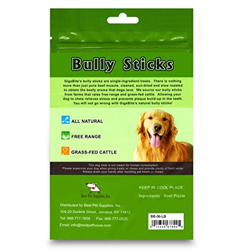 GigaBite 6 Inch Odor-Free Braided Bully Sticks (1-Pound) – USDA & FDA Certified All Natural, Free Range Beef Pizzle Dog Treat – By Best Pet Supplies by Best Pet Supplies, Inc. (Image #4)