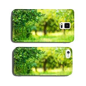 Apple garden green sunny background. Summer and autumn season cell phone cover case Samsung S6