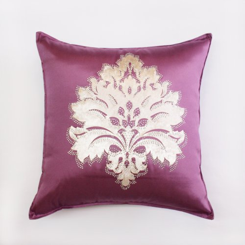 Best Home Fashion - Purple Damask rhinestone Stud Poly Oxford Pillow Cover 19