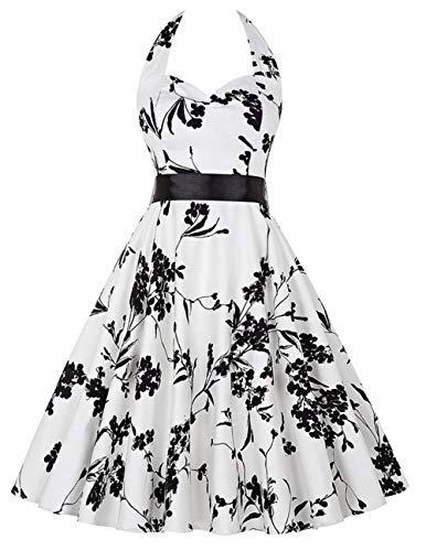 (Women Vintage 1950's Audrey Hepburn Style Dress Waisted Rockabilly Swing Sundress (White XX-Large))