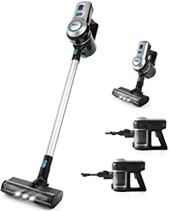 Betitay Cordless Vacuum, Stick Vacuum Cleaner 4 in 1 with 150W Powerful Suction, Portable Lightweight Handheld Cleaner for Home Hard Floor Carpet Pet Car with HEPA Filter, LED Brush Head