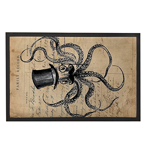 Mr. Octopus with Hat and Bear Note DoorMat for outside/Inside
