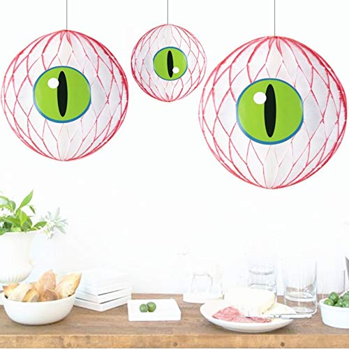 (VT BigHome 1pc 20cm Eye Got You! Super Spooky Halloween Honeycomb Eyeballs DIY Eyeball Balloons Fun Craft Creepy Eyeballs Halloween)