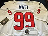 JJ Watt Autographed Signed Authentic White Texans Jersey Hologram & COA W/Photo Of Signing