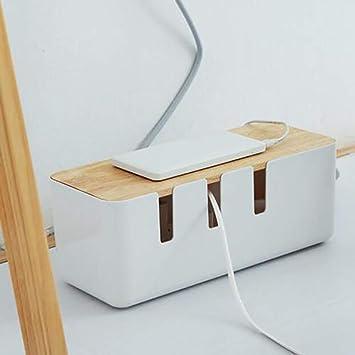 Caja de cable, caja de almacenamiento de cable de alimentación de madera Toma de corriente rectangular Organizador Cables Solución de gestión de cables totalmente probada: Amazon.es: Bricolaje y herramientas