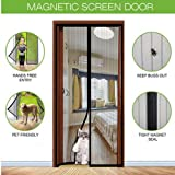 Aoocan Magnetic Screen Door with Heavy Duty Mesh Curtain and Full Frame Velcro Fits Door Size up to 36-82 Max- Black