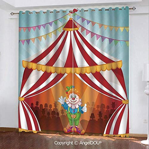 SCOCICI Set of 2 Panels Customized Durable Blackout Grommet Window Curtains Cartoon Clown in Circus Tent Cheerful Costume Funny Entertainer Joyful for Bathroom Living Room Bedroom]()
