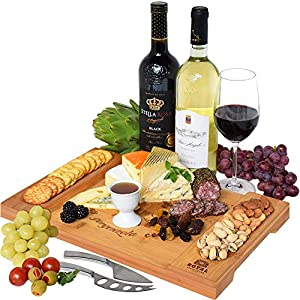 Unique Bamboo Cheese Board, Charcuterie Platter & Serving Tray for Wine, Crackers, Brie and Meat. Large & Thick Wooden Server – Fancy House Warming Gift & Perfect Choice for Gourmets (Bamboo)