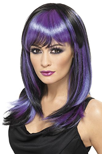 Grey Adult Witch Wig (Smiffy's Women's Black and Purple Witch Wig, One Size, Glamor Witch Wig,5020570325193)