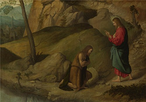 Oil Painting 'Moretto Da Brescia Christ Blessing Saint John The Baptist', 10 x 14 inch / 25 x 36 cm , on High Definition HD canvas prints is for Gifts And Gym, Home Theater And Nursery Decoration, buy
