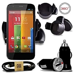 ALCATEL One Touch T' Pop negro 360 grados Mini coche soporte con estilo elegante USB 2,0 A Micro B 1 Metre Data Cable carga y Universal 12 V compacto bala pequeño puerto USB cargador adaptador SHUKAN