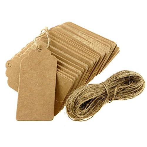 100pcs Étiquettes Papier Kraft Brun Pour Prix Soirée Mariage Cartes-Cadeaux [version:x8.3] by DELIAWINTERFEL