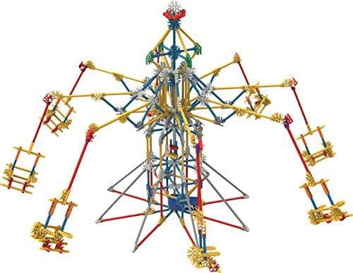 KNEX- Thrill Rides-Jeu Construction-Parc Attraction 3 Manèges Motorisés, 17035, Bleu