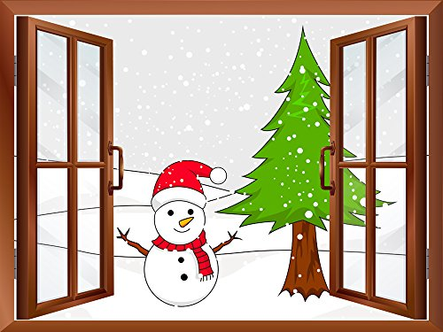 Cartoon Snowman and Christmas Tree Peel and Stick Removable Window View Wall Sticker Wall Mural