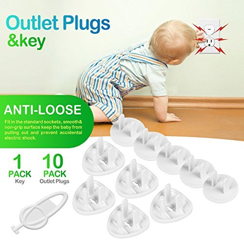 51iErel3gWL Baby Proofing, 43 Pcs Cabinet Locks Child Safety- 8 Magnetic Cabinet Locks+2 Keys, 16 Clear Corner Protectors, 10 Outlet Plugs, 6 Child Safety Locks, No Drill Required Baby Proof Set    This is our new released for you and your baby, protect your baby from corner and some dangers. Child Proof, 43 Pcs Cabinet Locks Child Safety- 8 Magnetic Cabinet Locks+2 Keys, 16 Clear Corner Protectors, 10 Outlet Plugs, 6 Child Safety Locks, Child Safety Cabinet Magnetic Locks No Drill.
