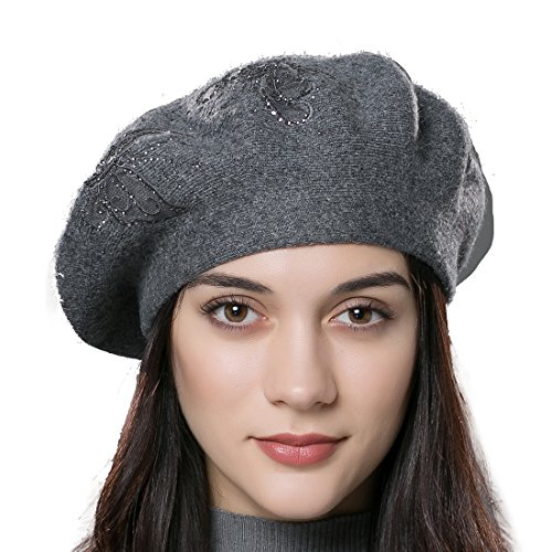 URSFUR Unisex Autumn Knit Beret Wool Women Winter Hat with Flower Decoration